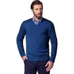 Sweter Jeans Robin. Niebieskie kardigany męskie marki LANCERTO, m, z bawełny, z dekoltem w serek. W wyprzedaży za 149,90 zł.