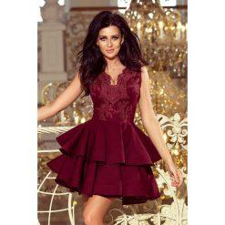 Sabrina - ekskluzywna sukienka z koronkowym dekoltem - BORDOWA. Czerwone sukienki hiszpanki numoco, s, z koronki, rozkloszowane. Za 279,98 zł.