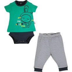 Spodnie niemowlęce: 2-częściowy zestaw w kolorze zielonym i granatowo-białym