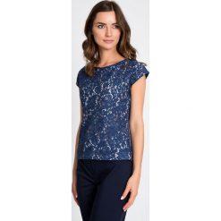 Bluzki asymetryczne: Granatowa koronkowa bluzka w kwiaty QUIOSQUE