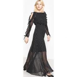 Długie sukienki: Długa sukienka w grochy z pięknymi rękawami