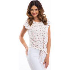 Wiązana kremowa bluzka w różowe kwiatki 21490. Białe bralety Fasardi, l, w kwiaty. Za 39,00 zł.