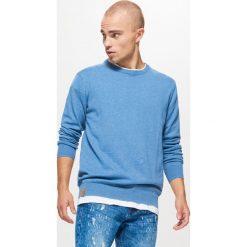 Gładki sweter BASIC - Niebieski. Niebieskie swetry klasyczne męskie marki Cropp, l. Za 69,99 zł.