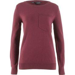 Swetry klasyczne damskie: Sweter z kieszonką bonprix czerwony klonowy