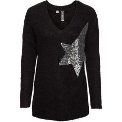 Swetry klasyczne damskie: Sweter dzianinowy z aplikacją bonprix czarny