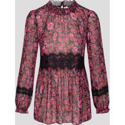 Bluzki asymetryczne: Szyfonowa bluzka z koronką
