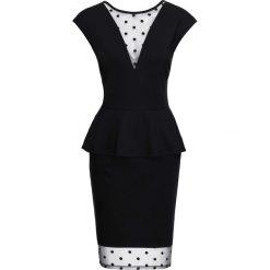 Sukienka z siatkową wstawką bonprix czarny. Czarne sukienki balowe marki bonprix, na imprezę, w kropki. Za 149,99 zł.