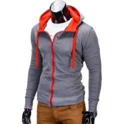 BLUZA MĘSKA ROZPINANA Z KAPTUREM B485 - GRAFITOWA/CZERWONA. Czerwone bluzy męskie rozpinane marki Ombre Clothing, m, z bawełny, z kapturem. Za 39,00 zł.