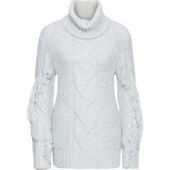 Golfy damskie: Sweter z golfem i frędzlami bonprix szary