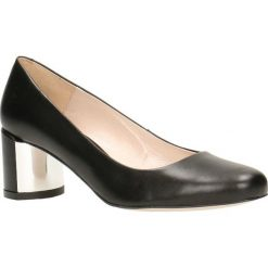 Czółenka ERI. Czarne buty ślubne damskie Gino Rossi, ze skóry, na słupku. Za 249,90 zł.