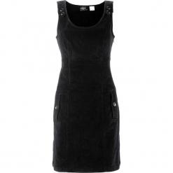 Sukienka sztruksowa bonprix czarny. Czarne sukienki na komunię marki bonprix, ze sztruksu, na ramiączkach. Za 109,99 zł.