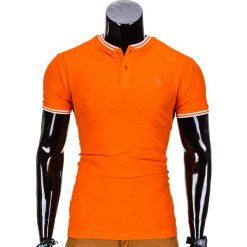 KOSZULKA MĘSKA POLO BEZ NADRUKU S843 - POMARAŃCZOWA. Brązowe koszulki polo Ombre Clothing, m, z nadrukiem. Za 29,00 zł.