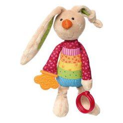 Przytulanka aktywizująca - Królik Rainbow z obręczami, gryzakiem, grzechotką i szeleszczącą folią   (41419). Szare przytulanki i maskotki marki SIGIKID. Za 139,99 zł.