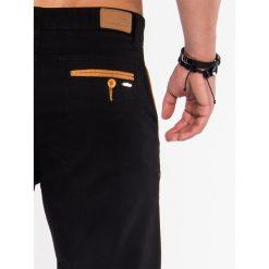 KRÓTKIE SPODENKI MĘSKIE CHINO P520 - CZARNE. Czarne szorty męskie Ombre Clothing, eleganckie. Za 39,00 zł.