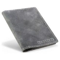 Skórzany portfel SLIM wallet BRODRENE Szary. Czarne portfele męskie marki Brødrene, w paski, ze skóry. Za 84,90 zł.