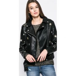 Answear - Kurtka Sporty Fusion. Czarne kurtki damskie ramoneski marki ANSWEAR, l, w paski, z materiału. W wyprzedaży za 129,90 zł.
