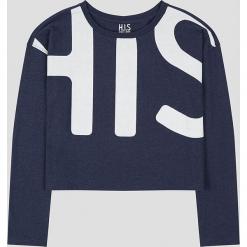 Koszulka w kolorze granatowym. Niebieskie bluzki damskie H.I.S, xs, z nadrukiem, z bawełny, z okrągłym kołnierzem, z długim rękawem. W wyprzedaży za 86,95 zł.