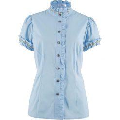Bluzka z falbankami bonprix pudrowy niebieski. Niebieskie bluzki asymetryczne bonprix, z falbankami. Za 59,99 zł.