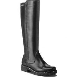 Oficerki EVA MINGE - Aldaya 4AW 18SM1372552EF 101. Czarne buty zimowe damskie Eva Minge, ze skóry ekologicznej, przed kolano, na wysokim obcasie, na obcasie. W wyprzedaży za 449,00 zł.