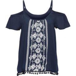 Bluzki damskie: Bluzka z nadrukiem w optyce haftu bonprix ciemnoniebiesko-biały