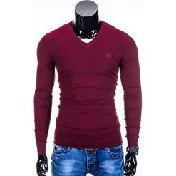 Swetry klasyczne męskie: SWETER MĘSKI E74 – BORDOWY