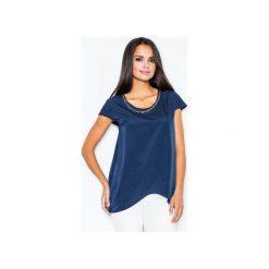 Bluzka M390 Granat. Niebieskie bluzki damskie marki FIGL, m, z asymetrycznym kołnierzem, z krótkim rękawem. Za 99,00 zł.