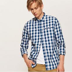 Koszula w kratę - Niebieski. Szare koszule męskie marki House, l, z bawełny. Za 89,99 zł.