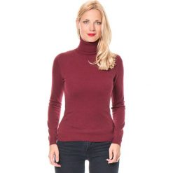 Sweter w kolorze bordowym. Czerwone golfy damskie marki William de Faye, z kaszmiru. W wyprzedaży za 136,95 zł.