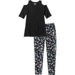 Piżamy damskie: Piżama ze spodniami 3/4 bonprix czarno-pudrowy jasnoróżowy z nadrukiem