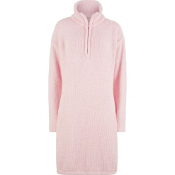 Sukienka z puszystej przędzy bonprix pastelowy jasnoróżowy. Różowe sukienki dla puszystych marki numoco, l, z dekoltem w łódkę. Za 89,99 zł.
