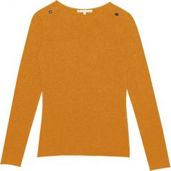 Sweter kaszmirowy w kolorze musztardowym. Żółte swetry klasyczne męskie marki Ateliers de la Maille, z kaszmiru, z okrągłym kołnierzem. W wyprzedaży za 363,95 zł.