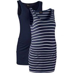 Top ciążowy (2 szt.) bonprix ciemnoniebieski + ciemnoniebiesko-biały w paski. Niebieskie bluzki ciążowe marki bonprix, w paski. Za 59,98 zł.