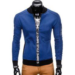 BLUZA MĘSKA ROZPINANA BEZ KAPTURA B739 - GRANATOWA. Niebieskie bejsbolówki męskie Ombre Clothing, m, z bawełny, bez kaptura. Za 69,00 zł.