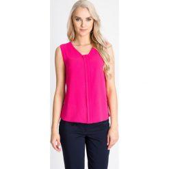 Bluzki damskie: Różowa bluzka z kontrafałdą QUIOSQUE