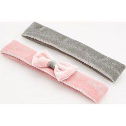 Czapeczki niemowlęce: Aksamitna opaska na włosy 2 pack – Różowy