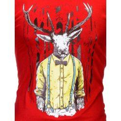T-SHIRT MĘSKI Z NADRUKIEM S813 - CZERWONY. Zielone t-shirty męskie z nadrukiem marki Ombre Clothing, na zimę, m, z bawełny, z kapturem. Za 29,00 zł.