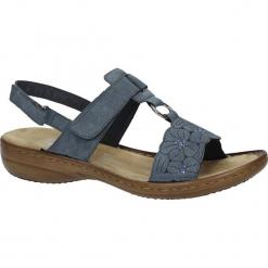 Niebieskie sandały z cyrkoniami Rieker 60843-14. Czarne sandały damskie marki Rieker, z materiału. Za 218,99 zł.