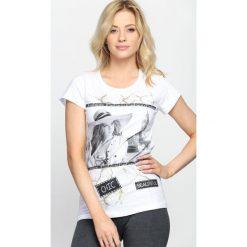 Bluzki damskie: Biały T-shirt Miss You Love You