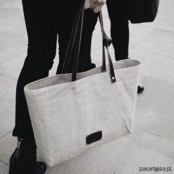 Torba LAGOS len 100%. Szare shopper bag damskie Pakamera, ze lnu, na ramię, duże. Za 219,00 zł.
