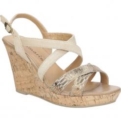 Sandały złote skórzane na koturnie Tamaris 1-28343-28. Szare sandały damskie marki Tamaris, z materiału. Za 169,99 zł.