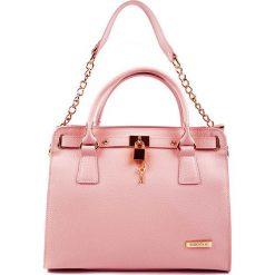 Torebki klasyczne damskie: Skórzana torebka w kolorze jasnoróżowym – 33 x 27 x 15 cm