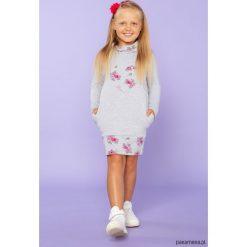 Sukienka dresowa z półgolfem, TD23_2, j.szar. Różowe sukienki dziewczęce dzianinowe Pakamera, z długim rękawem, długie. Za 89,00 zł.