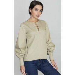 Bluzki damskie: Oliwkowa Bluzka Koszulowa z Rozcięciem przy Dekolcie