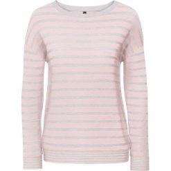Swetry oversize damskie: Sweter dzianinowy bonprix jasnoszary melanż – pastelowy jasnoróżowy