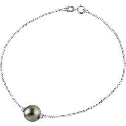 Bransoletki damskie: Srebrna bransoletka z perłą