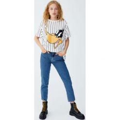 Koszulka z Kaczorem Daffy. Szare t-shirty damskie Pull&Bear. Za 59,90 zł.
