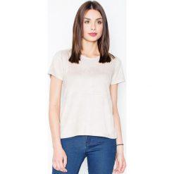 Beżowa Prosta Zamszowa Bluzka z Przeszyciami. Czerwone bluzki wizytowe marki Molly.pl, l, z jeansu, biznesowe, z dekoltem na plecach, z długim rękawem. Za 119,90 zł.