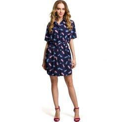 ADANA Sukienka koszulowa - granatowa. Niebieskie sukienki mini marki Moe, s, z tkaniny, z koszulowym kołnierzykiem, koszulowe. Za 179,90 zł.