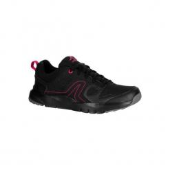 Buty damskie do szybkiego marszu HW 100 w kolorze czarno-różowym. Czarne buty do fitnessu damskie marki Kazar, z nubiku, przed kolano, na wysokim obcasie. Za 79,99 zł.