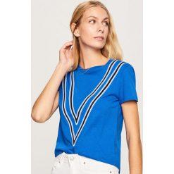 T-shirt z nadrukiem - Niebieski. Niebieskie t-shirty damskie marki Reserved, l, z nadrukiem. Za 49,99 zł.